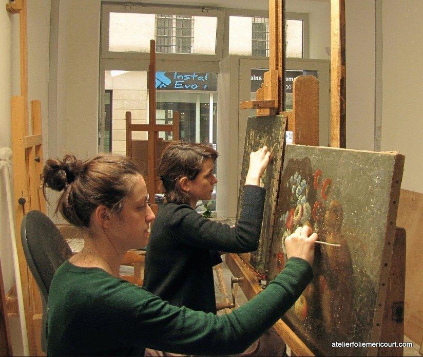 Atelier de restauration et de conservation de peintures et de tableaux d'art ancien et moderne sur Paris rue Folie Mericourt